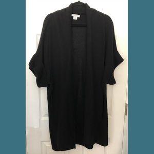 Liz Claiborne Knit Black Duster Cardigan